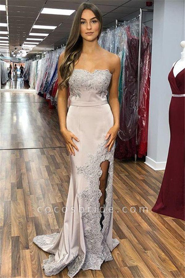 Exquisite Strapless Split Front Mermaid Prom Dress