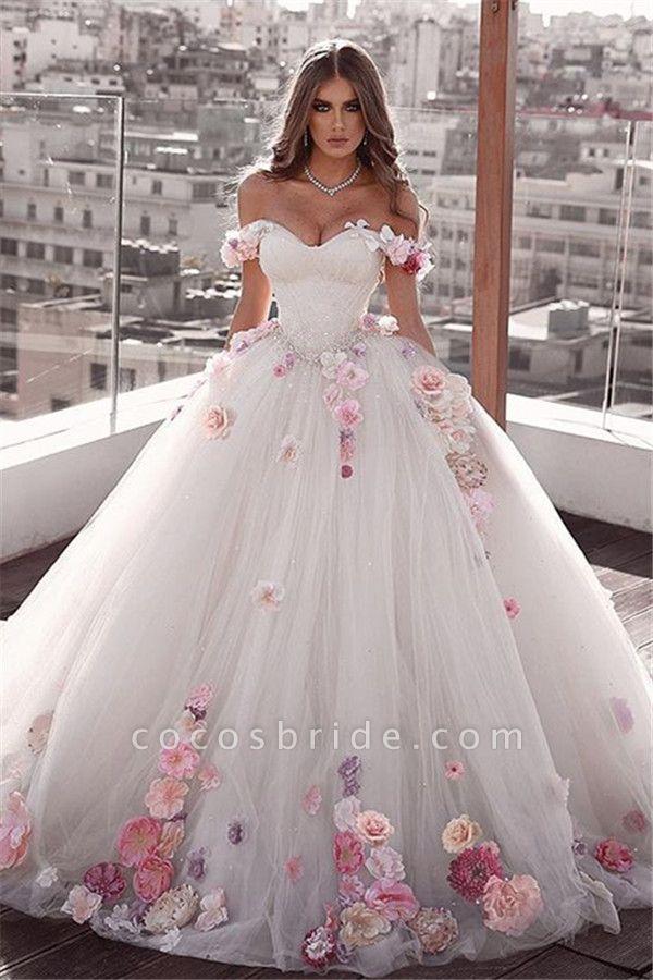 Glamorous Off The Shoulder Flower Ball Gown Wedding Dress