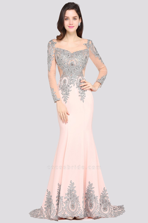 BM0129 Pink Mermaid Long Sleeves Appliques Beads Bridesmaid Dresses