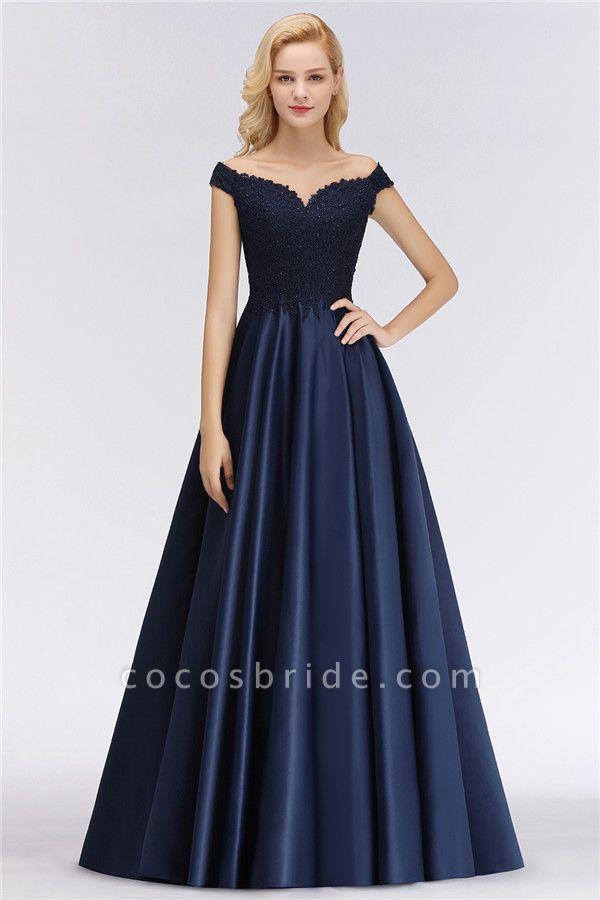 BM0067 Elegant Off-the-Shoulder Ruffles Beads Sleeveless Bridesmaid Dress