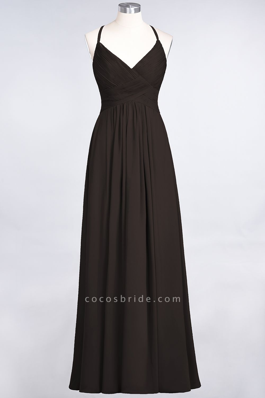 A-Line Chiffon Spaghetti-Straps V-Neck Sleeveless Floor-Length Bridesmaid Dress with Ruffles