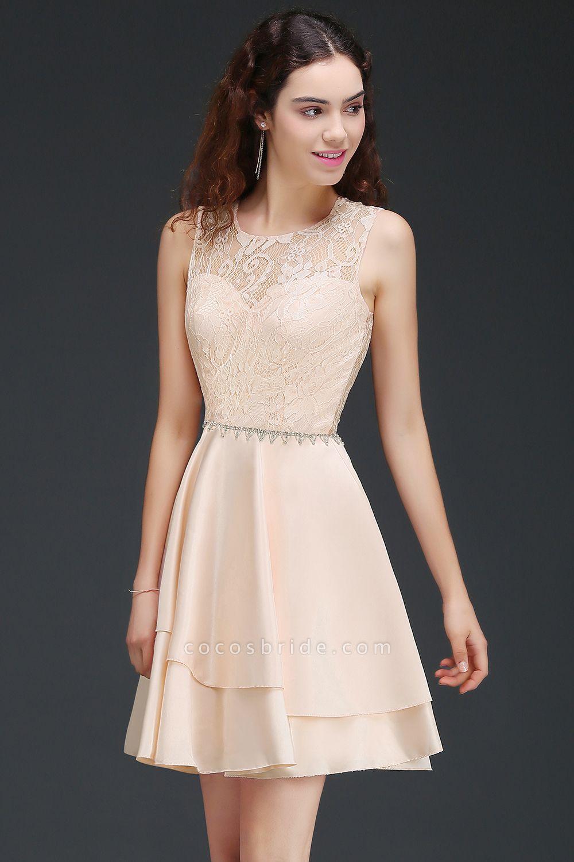 BM0822 Simple Short Pink Lace Beads Open Back Bridesmaid Dresses