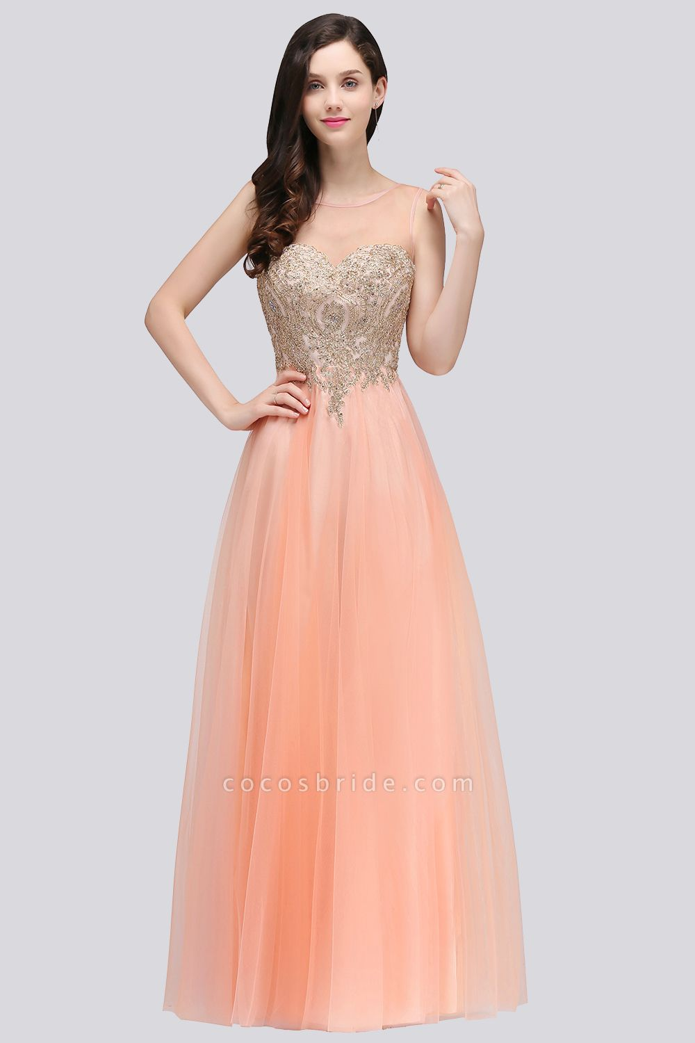 BM0125 A-line Open Back Sleeveless Appliques Tulle Bridesmaid Dresses