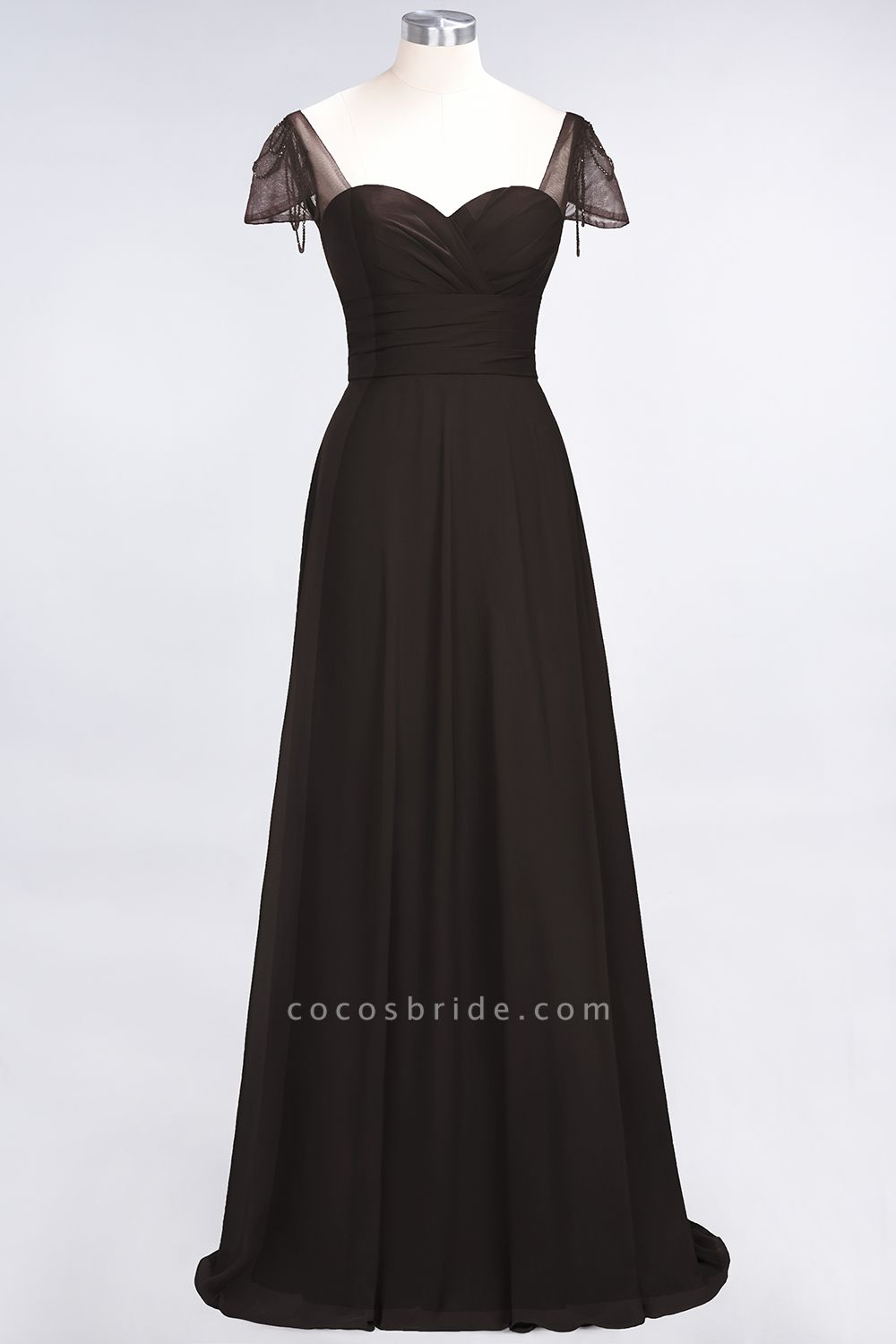 A-Line Chiffon Sweetheart Cap-Sleeves Ruffle Floor-Length Bridesmaid Dress with Beadings