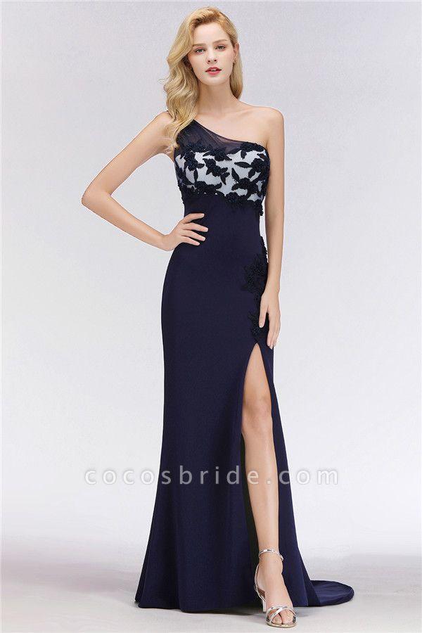 BM0085 Simple Side Split One-Shoulder Sleeveless Mermaid Bridesmaid Dress