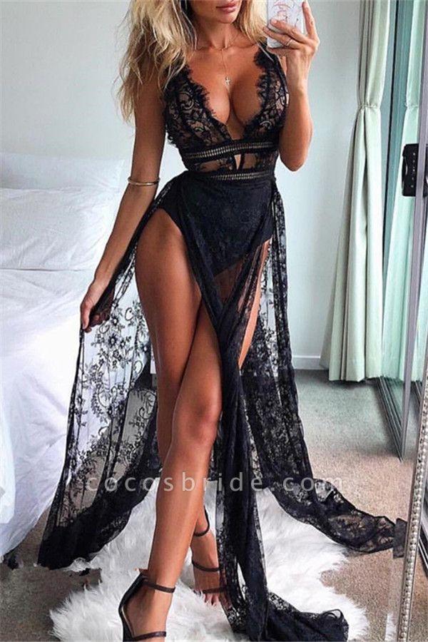 Modest Straps Split Front Mermaid Prom Dress