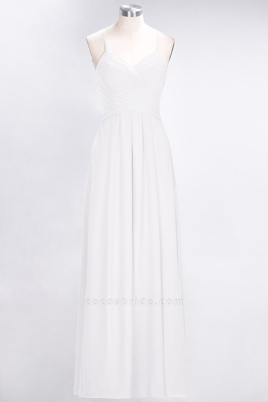 A-Line Chiffon Halter V-Neck Sleeveless Floor-Length Bridesmaid Dress with Ruffles