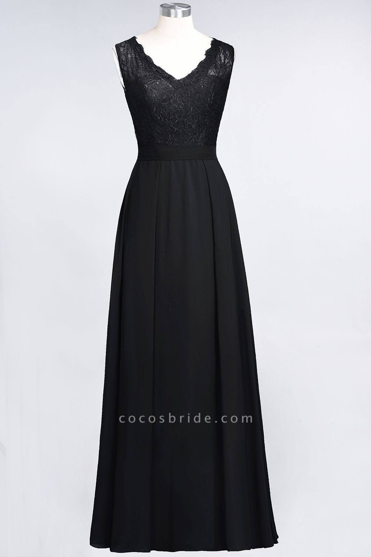 A-Line Chiffon Lace V-Neck Sleeveless Floor-Length Bridesmaid Dress