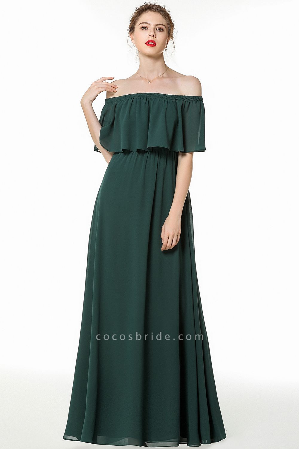 BM0827 Simple Off The Shoulder A-Line Long Bridesmaid Dress