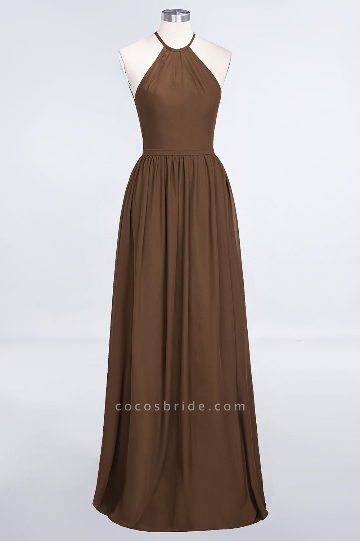 A-Line Chiffon Halter Sleeveless Floor-Length Bridesmaid Dress with Ruffles