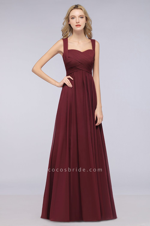 BM0420 Burgundy Simple Cap Sleeves Sweetheart Bridesmaid Dress
