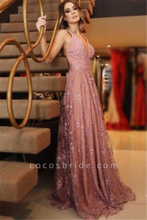 Attractive Spaghetti Straps Appliques A-line Prom Dress
