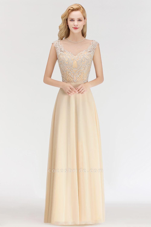 BM0074 Elegant A-Line Champagne Sleeveless Crystal Jewel Bridesmaid Dress