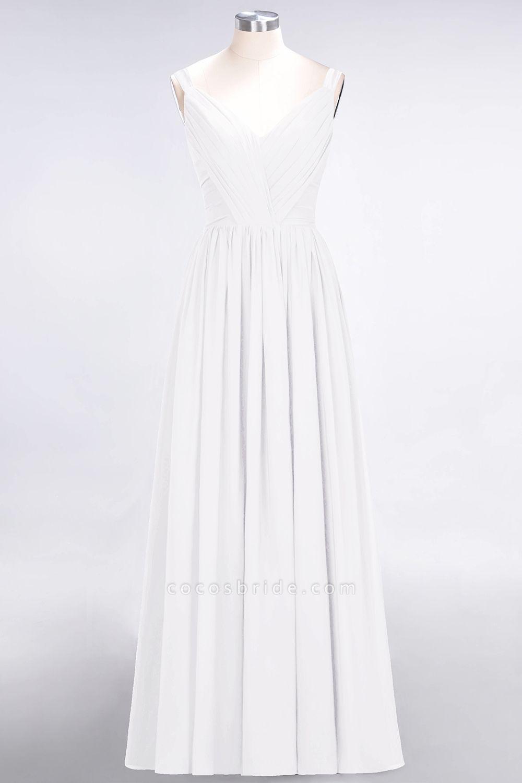A-Line Chiffon Straps V-Neck Sleeveless Backless Floor-Length Bridesmaid Dress with Ruffles