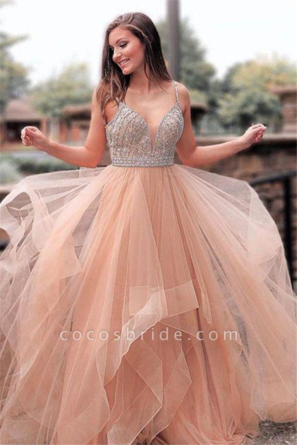Elegant Appliques Spaghetti-Straps Tulle A-Line Prom Dress