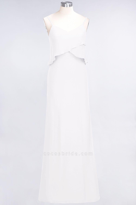 A-Line Chiffon Spaghetti-Straps V-Neck Sleeveless Floor-Length Bridesmaid Dress