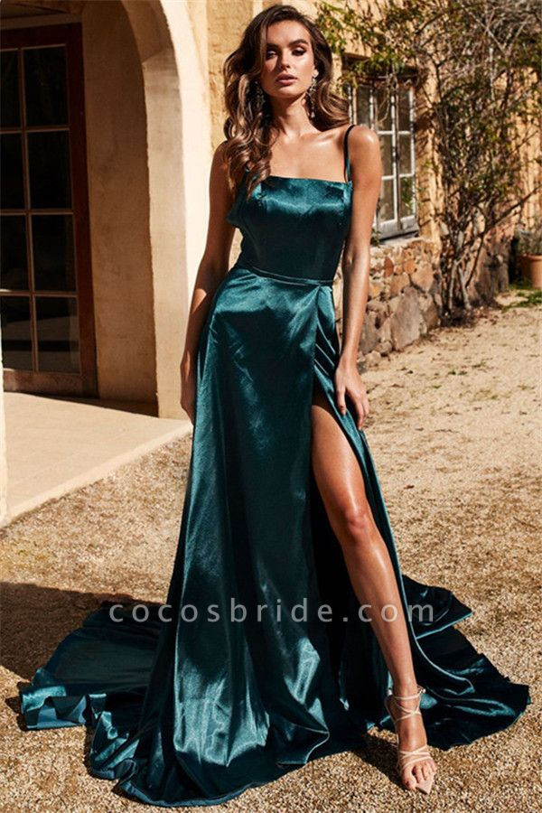 Chic Spaghetti-Straps Side-Slit A-Line Evening Dresses