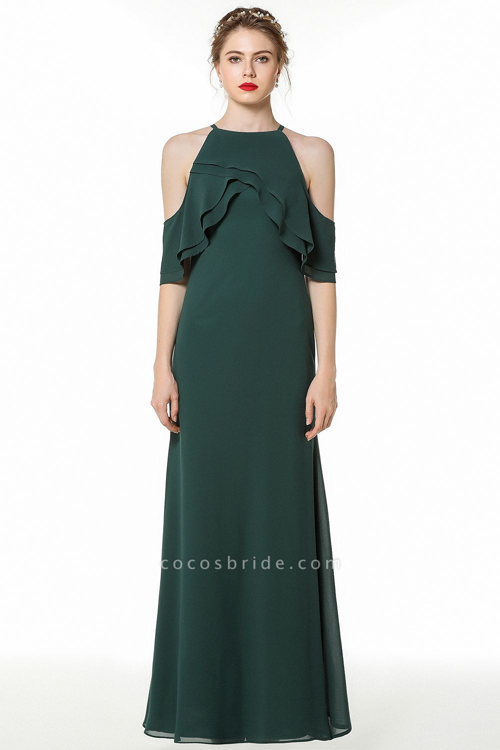 BM0825 Gorgeous Straps Dark Green Floor Length Bridesmaid Dress