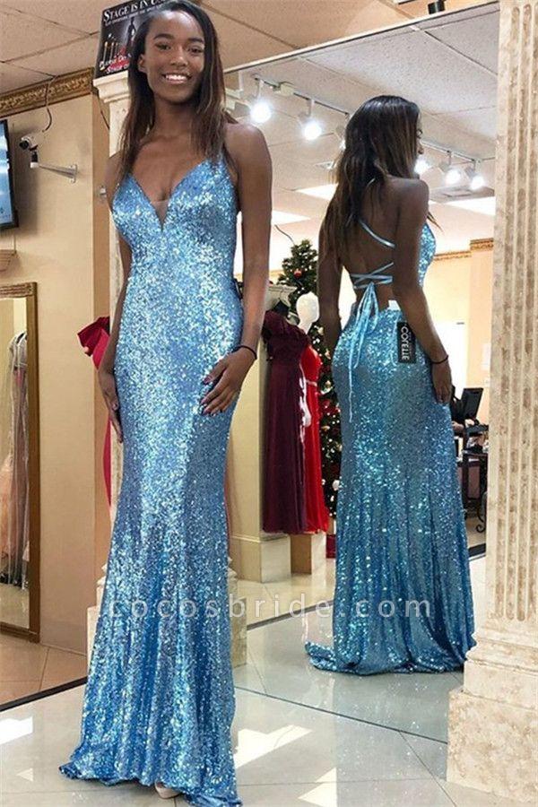 Exquisite Spaghetti Straps Sequined Mermaid Evening Dress