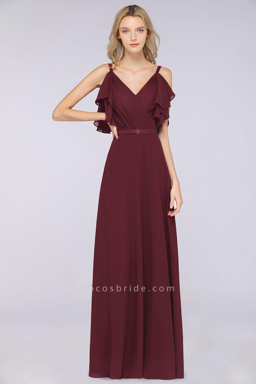 A-Line Chiffon V-Neck Straps Sleeveless Ruffles Floor-Length Bridesmaid Dress with Pearls