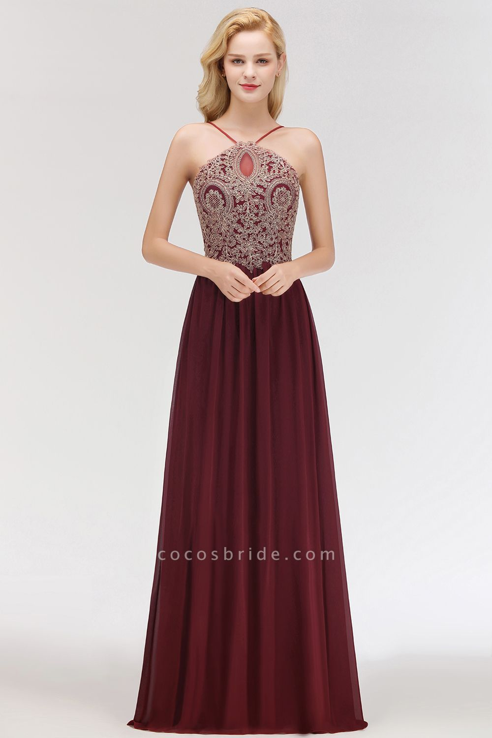 A-Line Chiffon Spaghetti-Straps Sleeveless Backless Floor-Length Bridesmaid Dress with Appliques