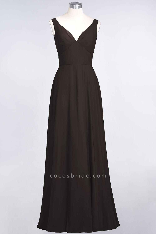 A-Line Chiffon V-Neck Straps Sleeveless Ruffles Floor-Length Bridesmaid Dress with Open Back