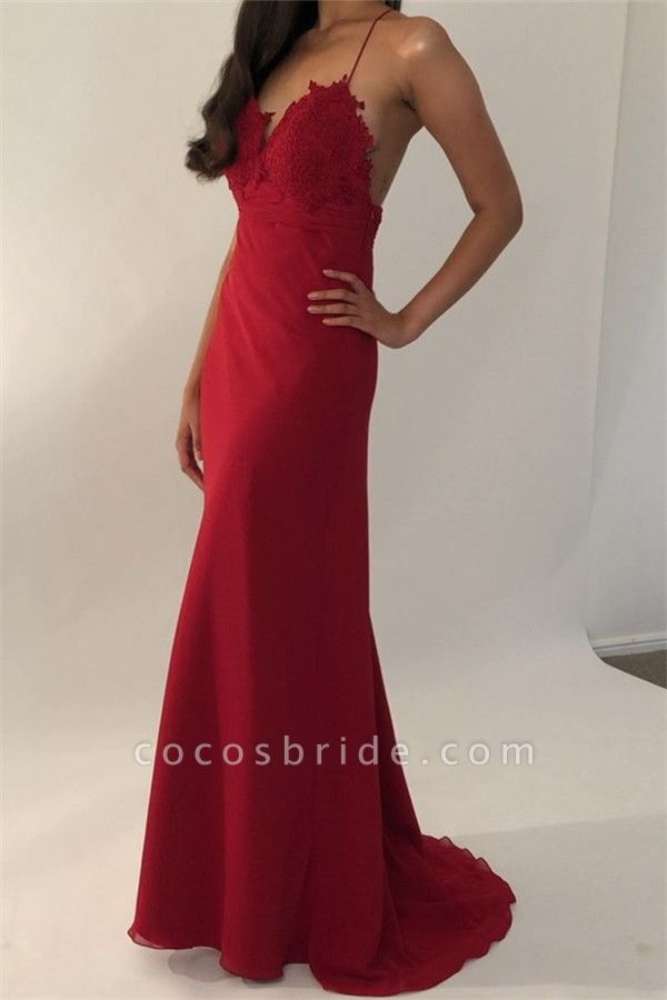 Excellent Spaghetti Straps Appliques Mermaid Prom Dress