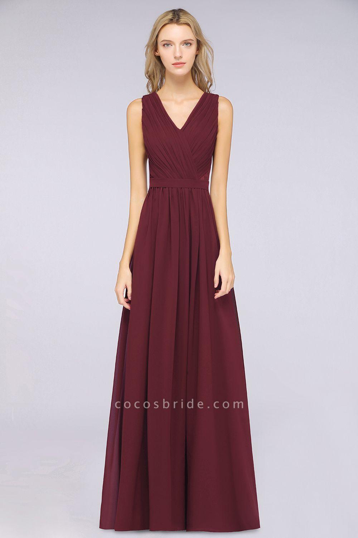 A-Line Chiffon Lace V-Neck Sleeveless Floor-Length Bridesmaid Dress with Ruffles