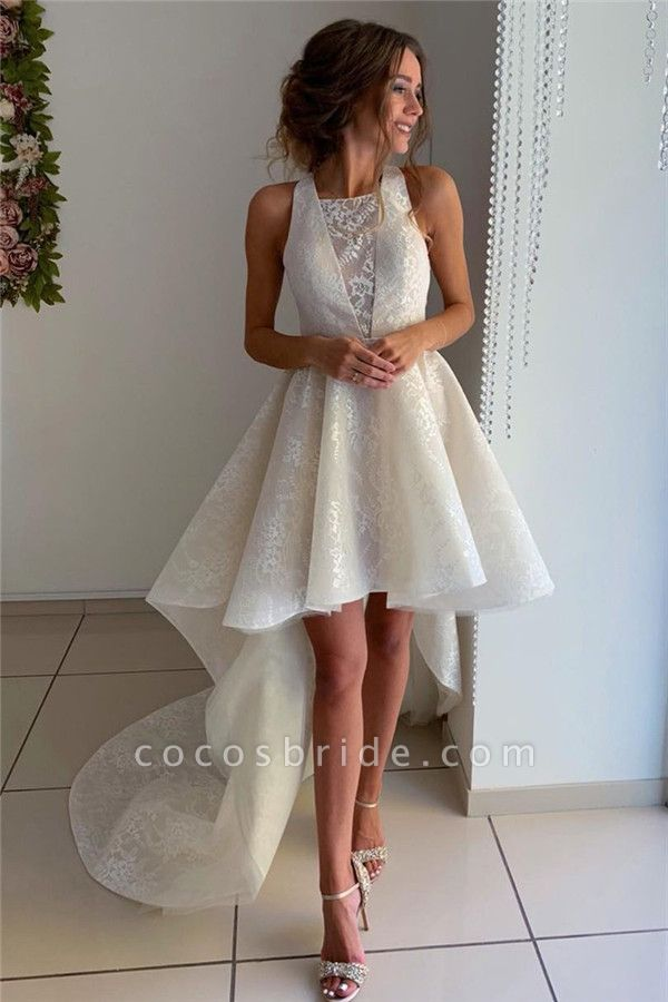 Newly Halter Appliques Sleeveless Hi-Lo Home-Coming Dress