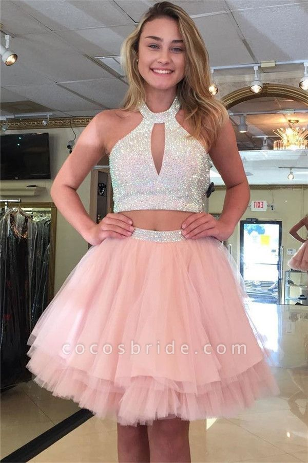 Sexy Two-Pieces Tulle Sequins Halter Homecoming Dress