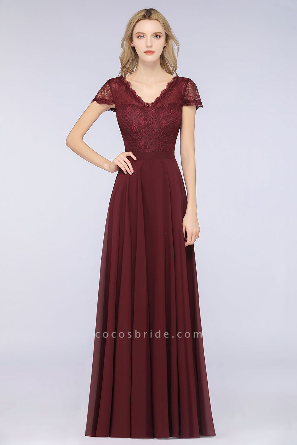A-Line Chiffon Lace V-Neck Cap-Sleeves Floor-Length Bridesmaid Dress