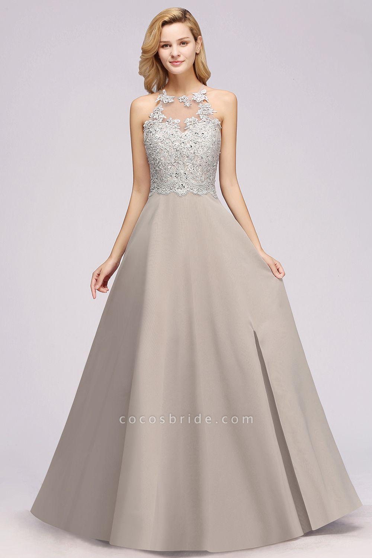 BM0794 Exquisite Lace Sleeveless Side Slit Bridesmaid Dress