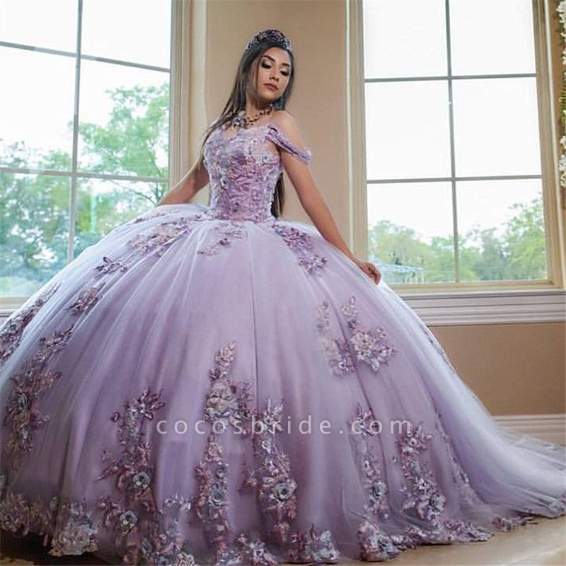Excellent Off-the-shoulder Tulle Ball Gown Quinceanera Dress
