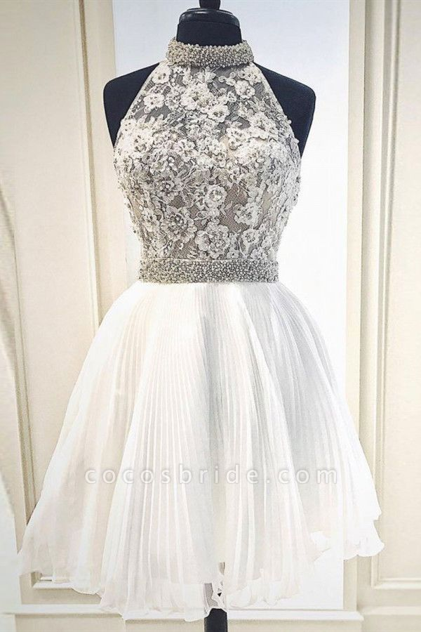 High-Neck Lace Sleeveless Homecoming Dress
