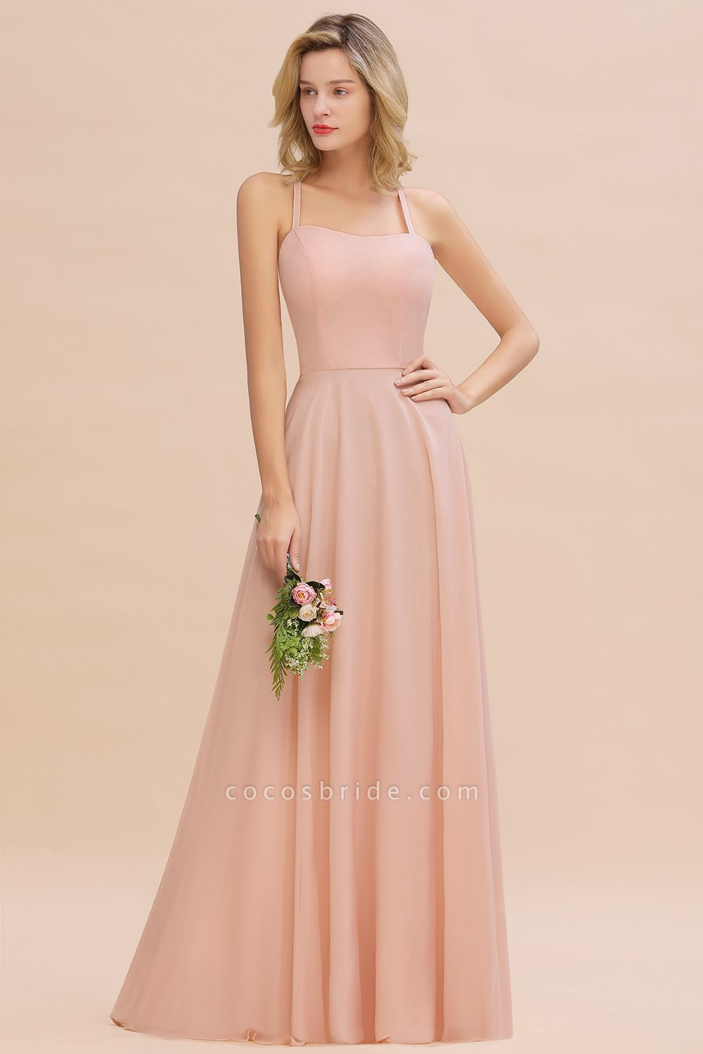 BM0782 Modern Chiffon Straps Sleeveless Open Back Long Bridesmaid Dress