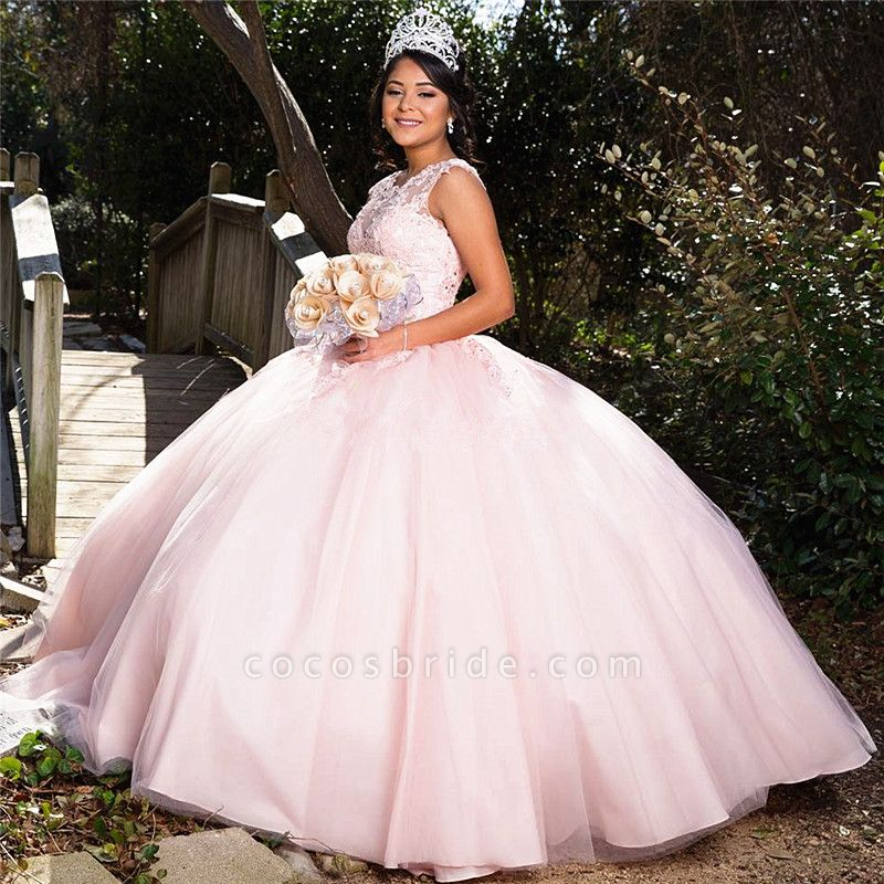 Affordable Jewel Tulle Ball Gown Quinceanera Dress