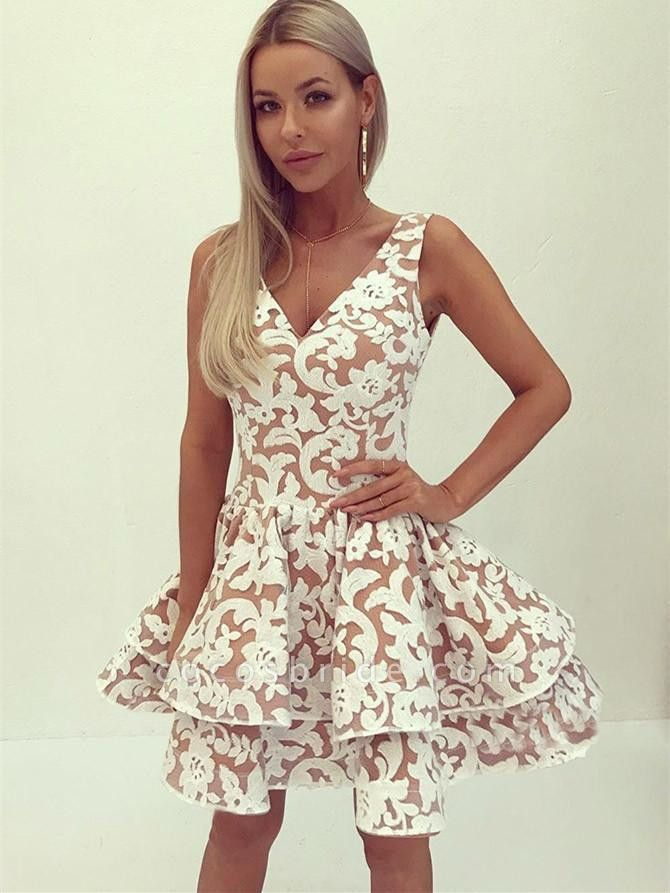 Appliques Layers V-Neck Homecoming Dress