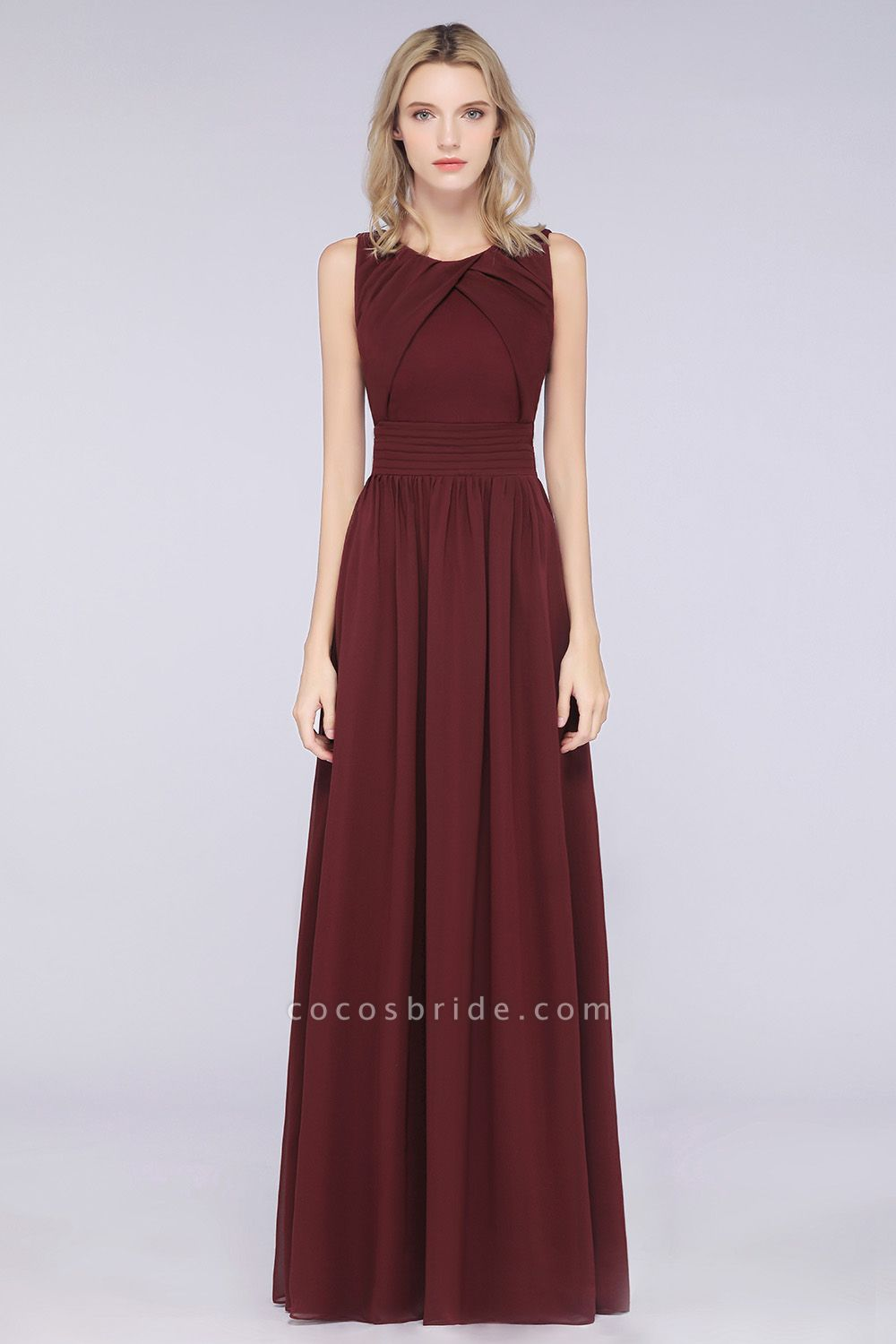 A-Line Chiffon Round-Neck Sleeveless Floor-Length Bridesmaid Dress with Ruffles