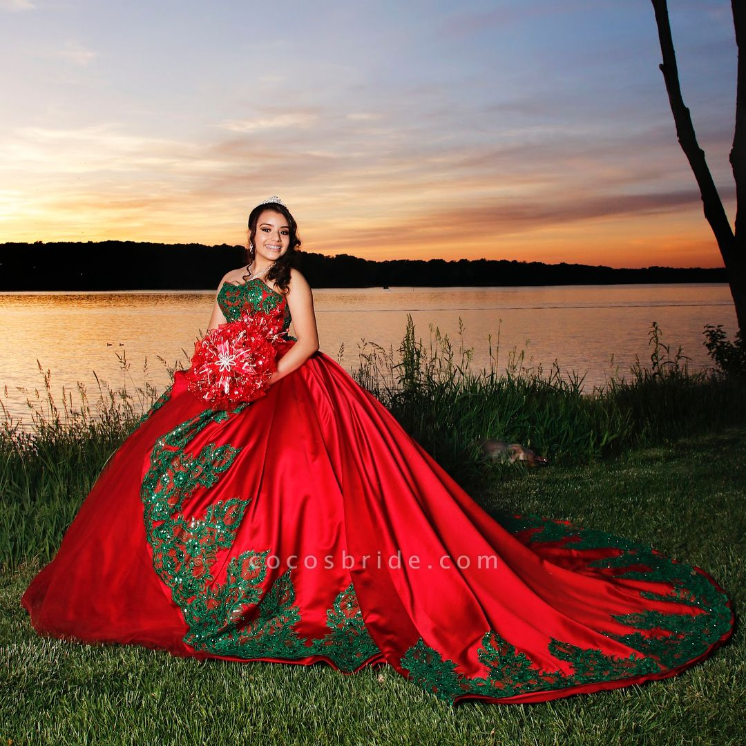 Modest Sweetheart Satin Ball Gown Quinceanera Dress