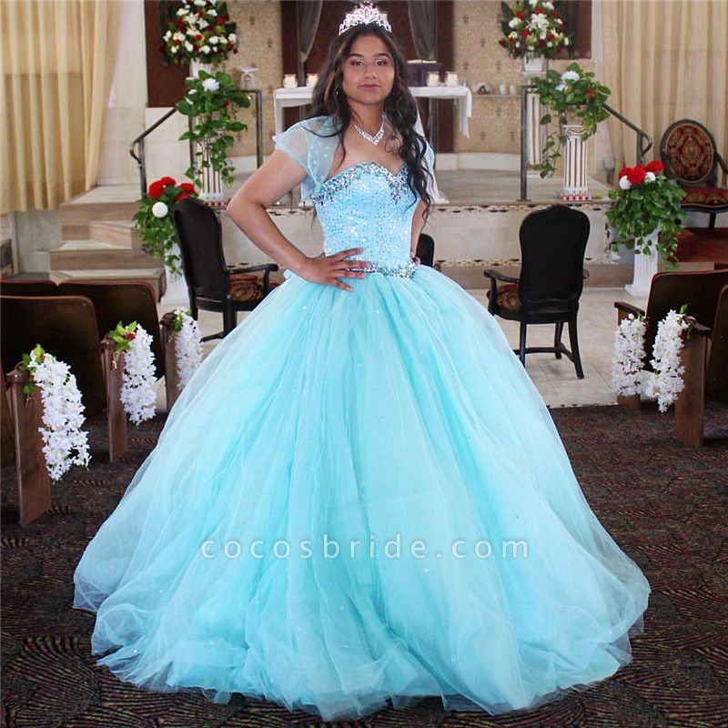 Sleek Spaghetti Straps Tulle Ball Gown Quinceanera Dress