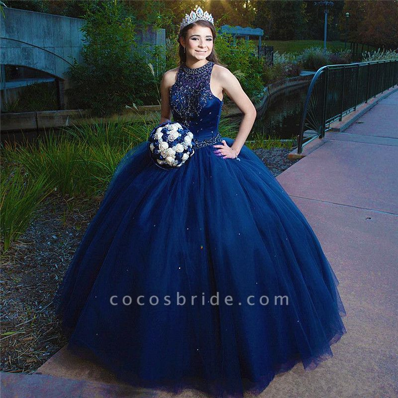 Beautiful Jewel Tulle Ball Gown Quinceanera Dress