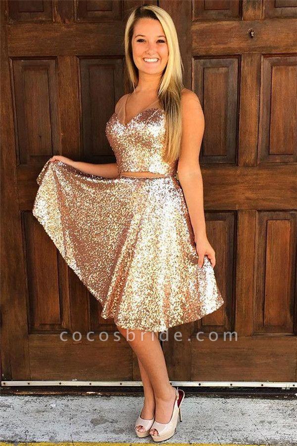 Sequins V-Neck Sleeveless Short Homecoming Dress