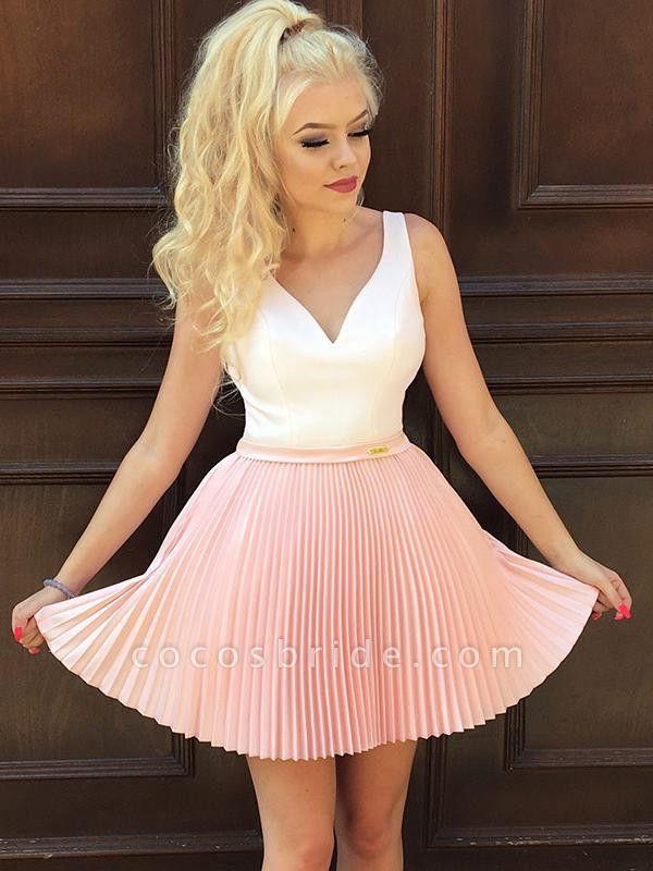 Straps V-Neck Ruffles Short Homecoming Dress