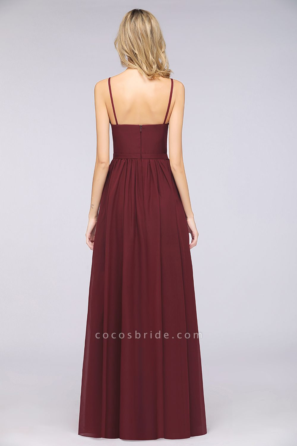 A-Line Chiffon Appliques Spaghetti-Straps Deep-V-Neck Sleeveless Floor-Length Bridesmaid Dress with Ruffles