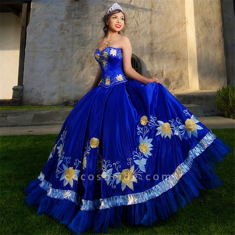 Fabulous Royal Blue Sweetheart Embroidery Ball Gown Quinceanera dresses