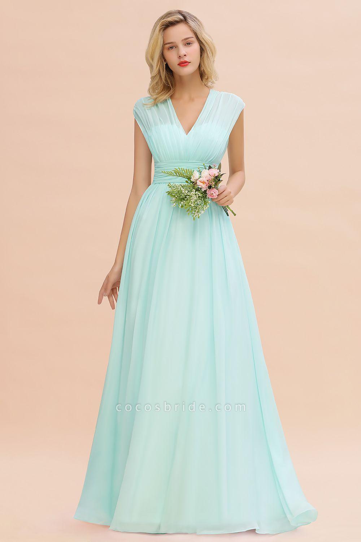 BM0774 Chiffon V-Neck Sleeveless Elegant A-line Ruffles Bridesmaid Dress