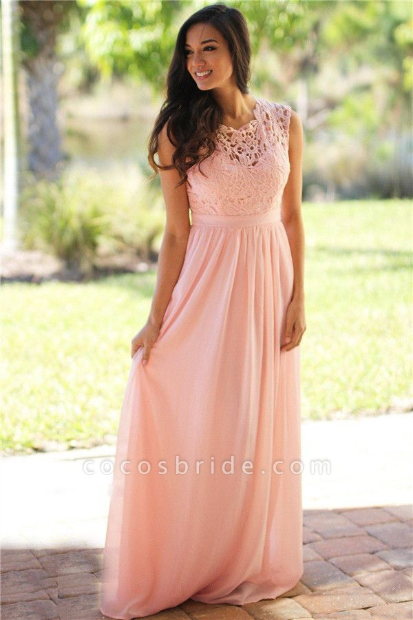 Sheath Crew Sleeveless Floor-length Lace Top Chiffon Bridesmaid Dresses