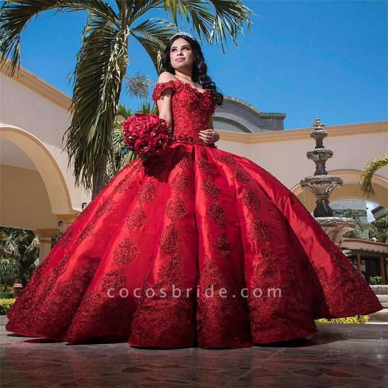 Fascinating Appliques Satin Ball Gown Quinceanera Dress
