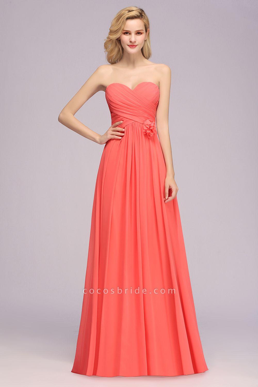 BM0792 Simple Sweetheart Strapless Flower A-line Bridesmaid Dress