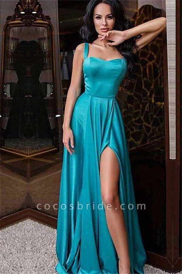 Attractive Straps Split Front A-line Evening Dress